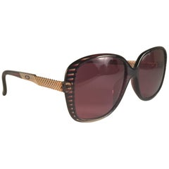 New Vintage Christian Dior 2415 Stripes Gold Sunglasses 1980 Austria