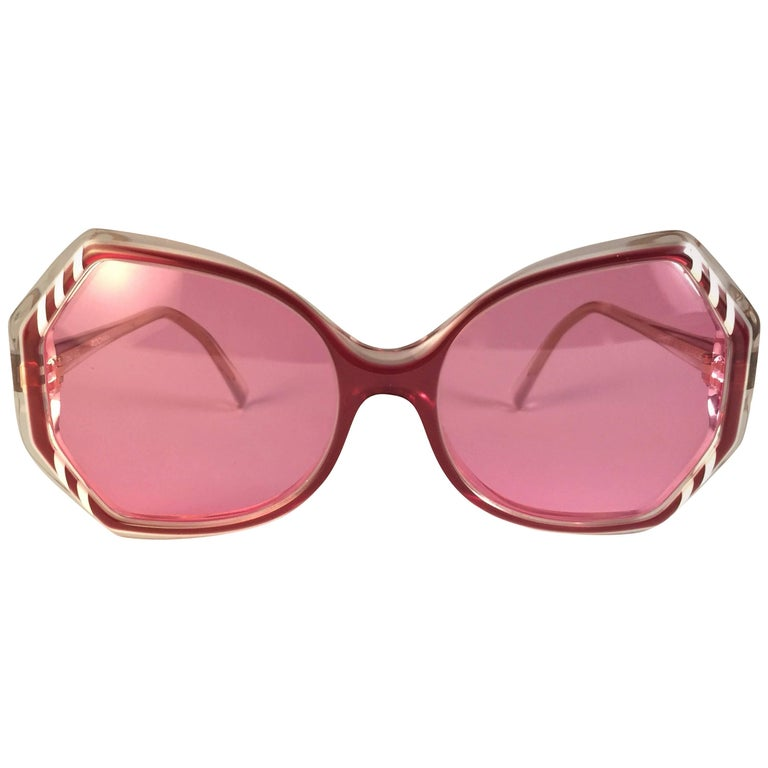 New Vintage Rochas Clear Red Candy Pink Lenses 1980's Sunglasses
