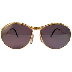 New Vintage Christian Lacroix Oval Gold Accents 1980 France Sunglasses