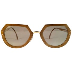New Vintage Christian Lacroix Ocre Gold Accents 1980 France Sunglass