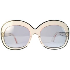 New Rare Vintage Pierre Marly Sourcilla Clear Oversized 1960's Sunglasses
