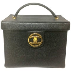Vintage CHANEL black caviar leather large vanity purse, lunchbox style handbag.