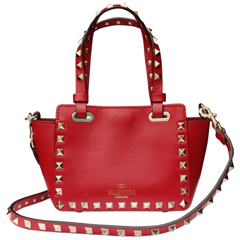 2010s Valentino Garavani mini Rockstud tote in bright red leather