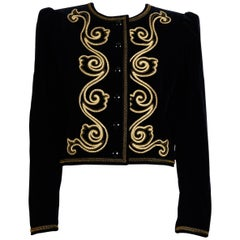 Yves Saint Laurent 1970s Black Velvet with Gold Soutache Braid Jacket