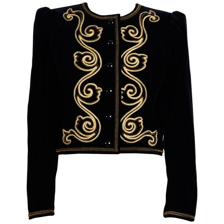 Yves Saint Laurent 1970s Black Velvet with Gold Soutache Braid Jacket