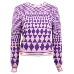 Vintage 90s Gianni Versace Sport Geometric Purple Cropped Pullover Sweater