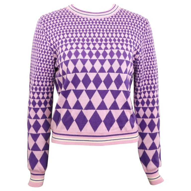 Gianni Versace Sport Geometric Purple Cropped Pullover Sweater For Sale