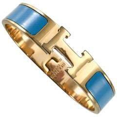 Hermes Rose Gold-Plated Clic Clac 'H' Blue Bracelet