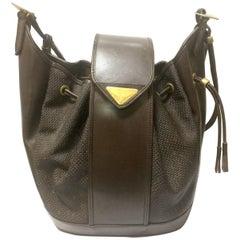 Vintage Yves Saint Laurent  brown hobo bucket shoulder bag with golden YSL motif