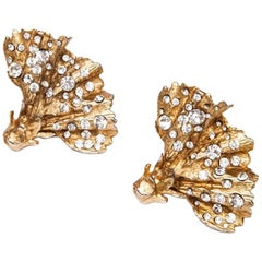 CHRISTIAN LACROIX Clip-on Earrings in Gilded Metal set with Swarovski Brilliants