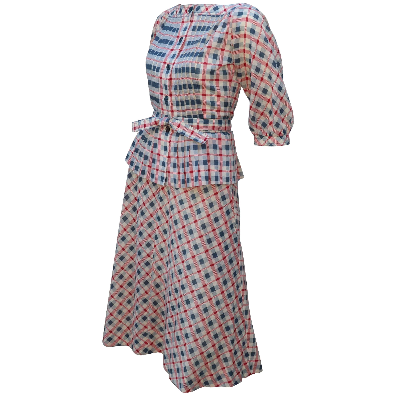 1970's Albert Nipon Pintucked Gingham Plaid Dress Set