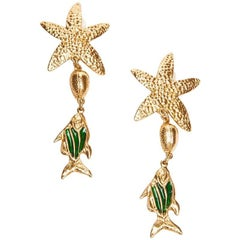 YVES SAINT LAURENT Starfish and Fish Pendant Clip-on Earrings in Gilded Metal