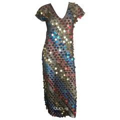 Multicolor sequin sheer disco dress