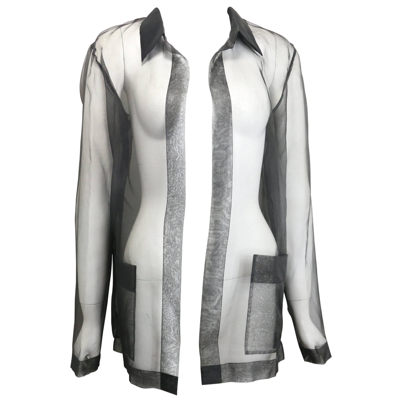 Chanel Black Silk See Through Shirt