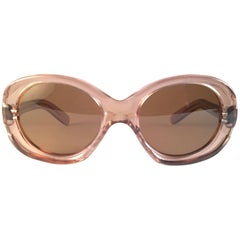 New Rare Vintage Philippe Chevallier Rose ClearOversized 1960's Sunglasses