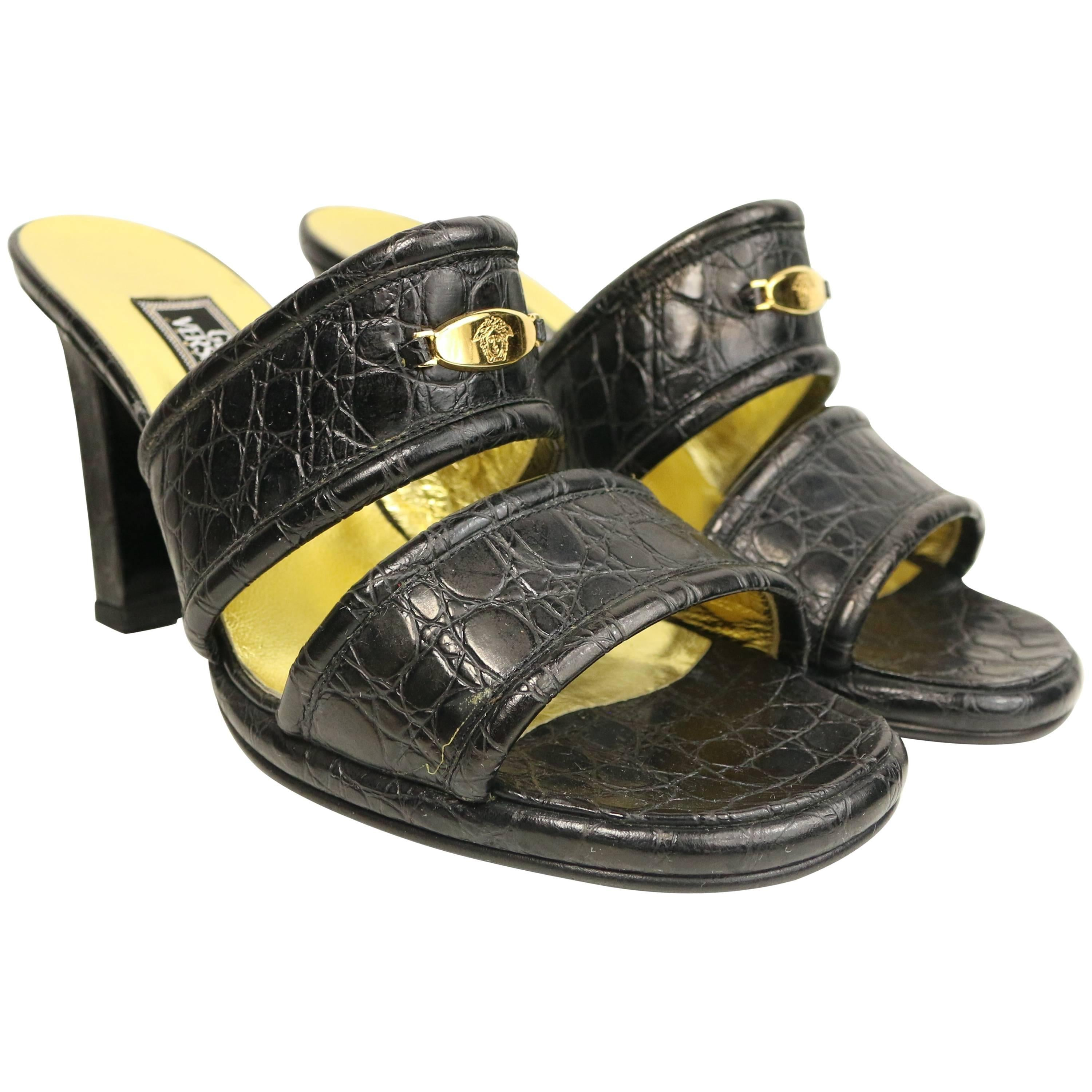 90s Gianni Versace Couture Black Croc Leather Sandals Heels