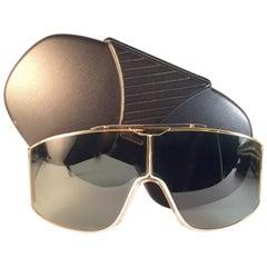 New Vintage Alpina Stratos Shield Green Gold 1980's Sunglasses