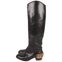 Chanel Paris-Monte Carlo Leather Riding Boots - black/gold