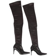 Chanel Lambskin Leather Thigh High Boots - black
