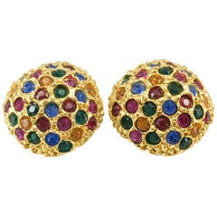 1980s Yves Saint Laurent Colourful Crystal Embellished Gold-Plated Earrings