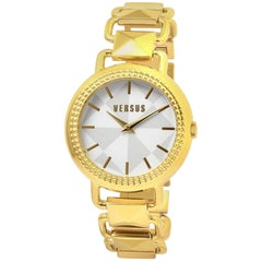 Coconut Grove Geometric Dial Yellow Gold Ion-plated Pyramid Link Ladies Watch
