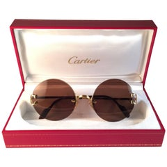 New Vintage Cartier Madison Classic Special Gold 50 Mm Sunglasses France