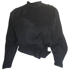 Thierry Mugler Charcoal Grey silver star cropped jacket