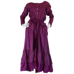 1970s Yves Saint Laurent Hand Painted Russian Top & Skirt Set