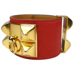 Hermès Collier de Chien Bracelet Epsom Leather Rouge Casaque / BRAND NEW