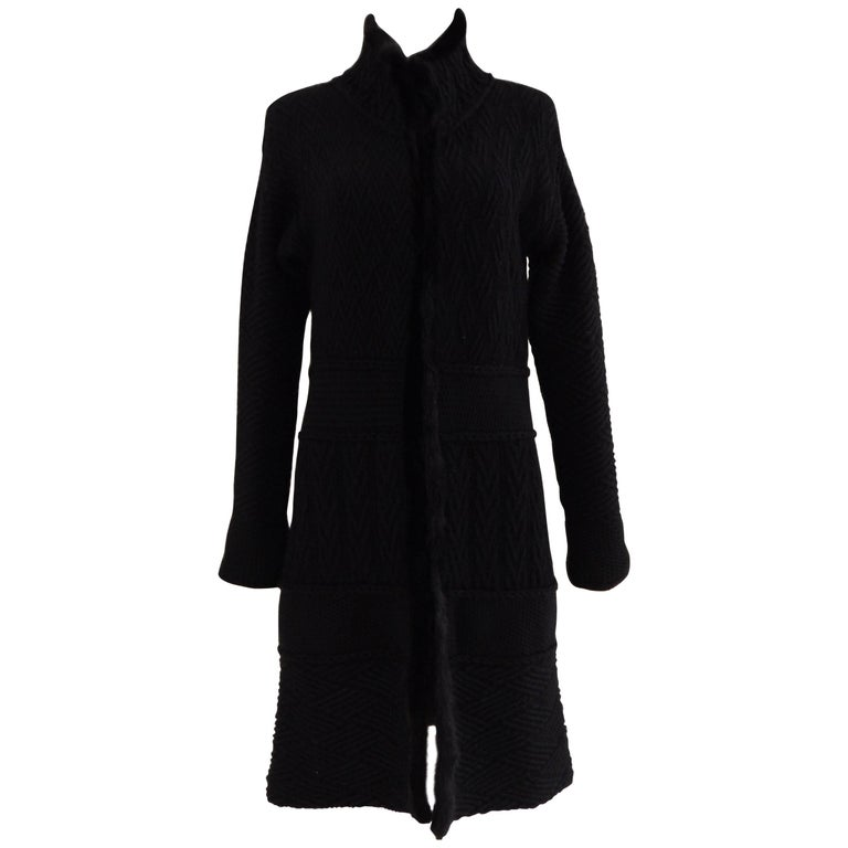 Blumarine black wool with real fur Cardigan