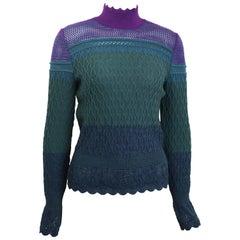Christian Lacroix Purple/Green/Blue Knitted Pattern Wool Mock Neck Top