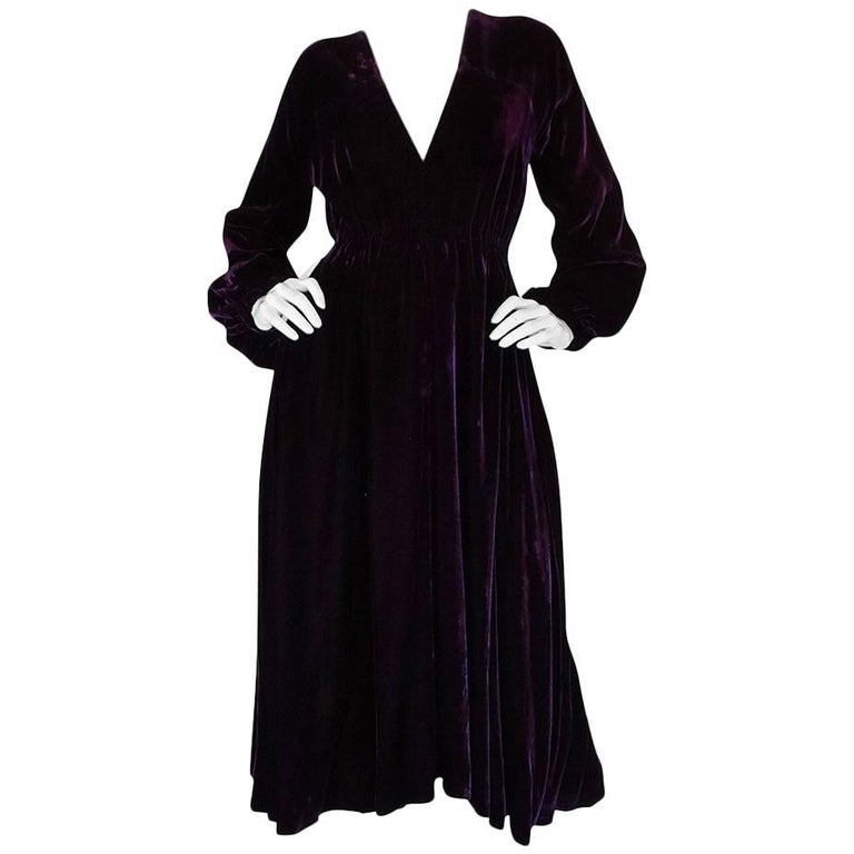 Halston Rich Purple Velvet Deep Plunge Dress, 1970s