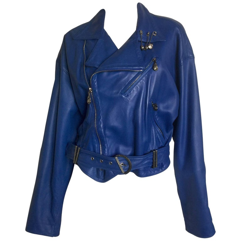 Gianni Versace safety pin royal blue leather jacket
