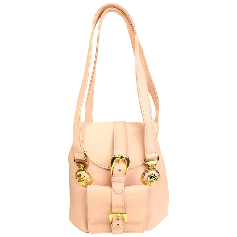 Gianni Versace Couture Pink Leather Gold Medusa Mini Handbag