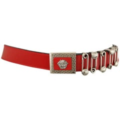 Vintage 90s Gianni Versace Red Leather Silver Medusa Pin Belt