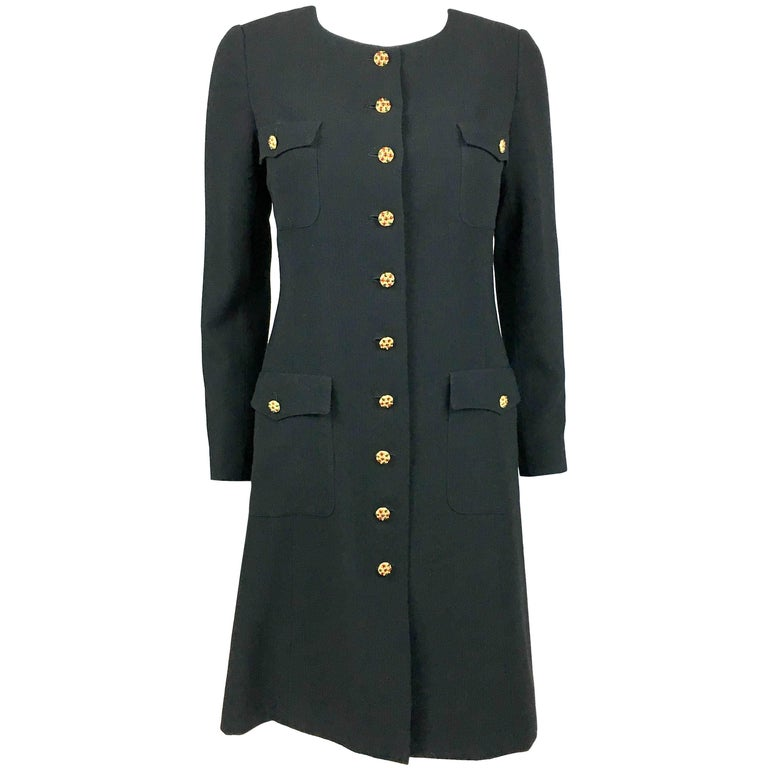 1996 Chanel Runway Look Black Wool Coat / Dress With Baroque-Style Buttons For Sale