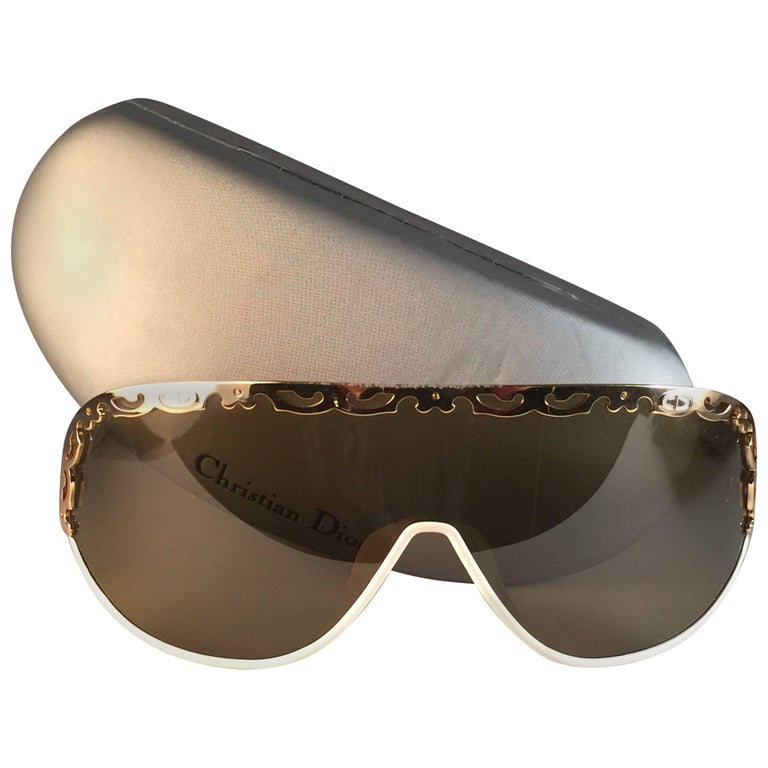 New Vintage Christian Dior 2501 Wrap Around White Gold 1980 Sunglasses