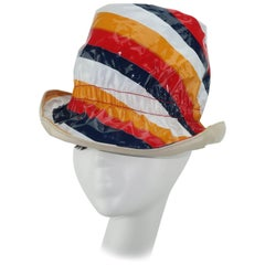 C.1970 Mod Striped Plastic Rain Hat