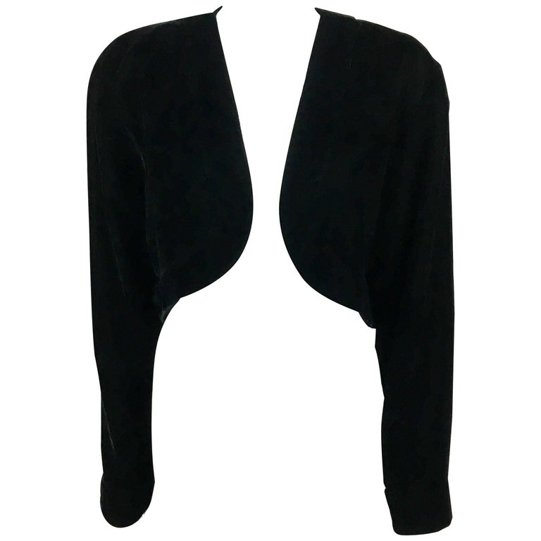 1990s Lanvin Black Velvet Bolero Jacket