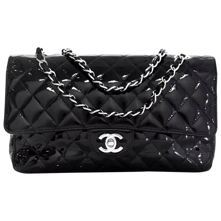 "Chanel Black Patent Leather 10"" Medium Double Flap Classic Bag with Dust Bag"