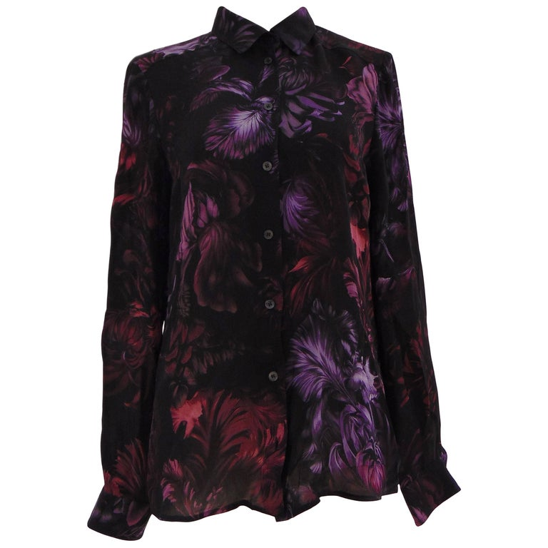 gucci black multitone flower silk shirt for sale at 1stdibs