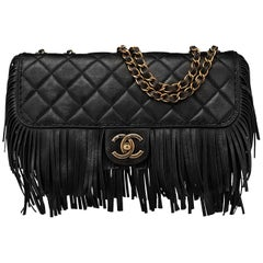 Chanel Black Quilted Nubuck Calfskin Paris/Dallas Fringe Flap Bag RT. $4,700
