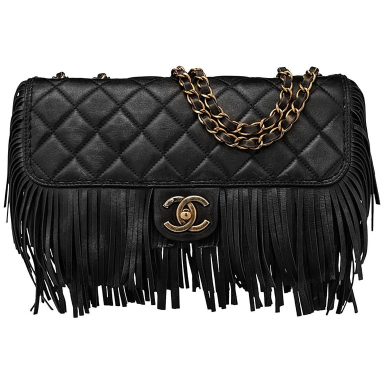 Chanel Black Quilted Nubuck Calfskin Paris/Dallas Fringe Flap Bag RT. $4,700 1