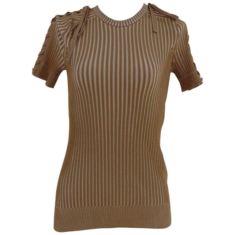 Gucci by Tom Ford striped grey and nude t-shirt