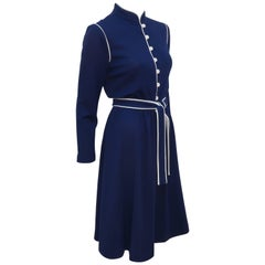1980's David Warren Navy Blue & White Wool Knit Dress