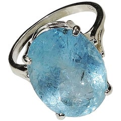 Blue, Oval Aquamarine and Sterling Silver Ring    March Birthstone