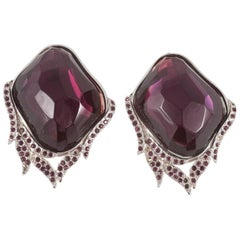 Magnificent amethyst Lucite and paste 'flame' earrings, Yves Saint Laurent, 1980