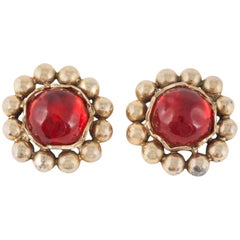 Ruby Lucite and gilt metal large ear clips, Yves Saint Laurent Rive Gauche 1980s