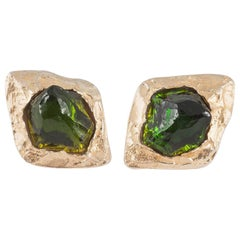Olive green Lucite and gilt ear clips , Yves Saint Laurent Rive Gauche, 1980s
