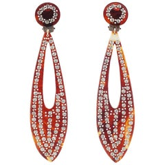 French 'tortoiseshell' celluloid and paste long drop earrings, 1920s